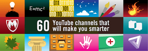 graphic of examples of educational youtube channels