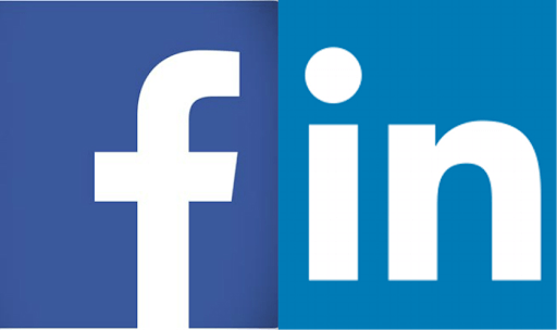 a graphic of the facebook and linkedin logos side by side