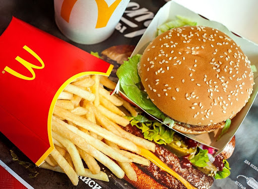 a McDonald's meal with a burger and fries