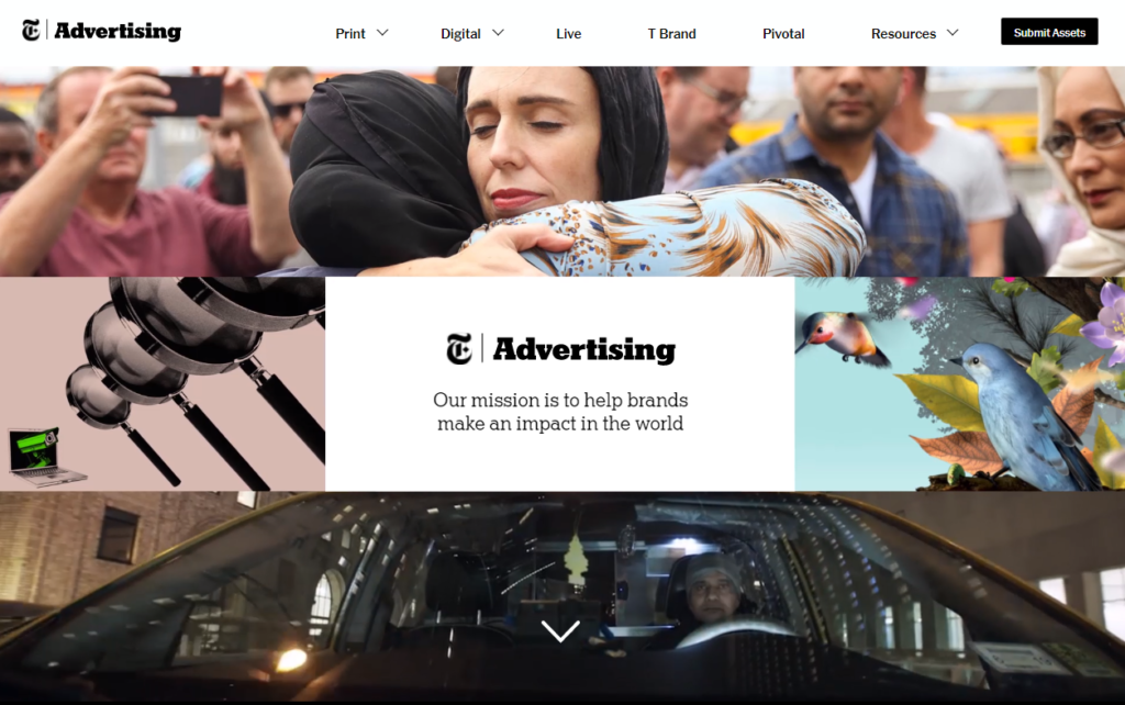 New York Times have an entire advertising site to showcase their inventory and advertising opportunities and rates