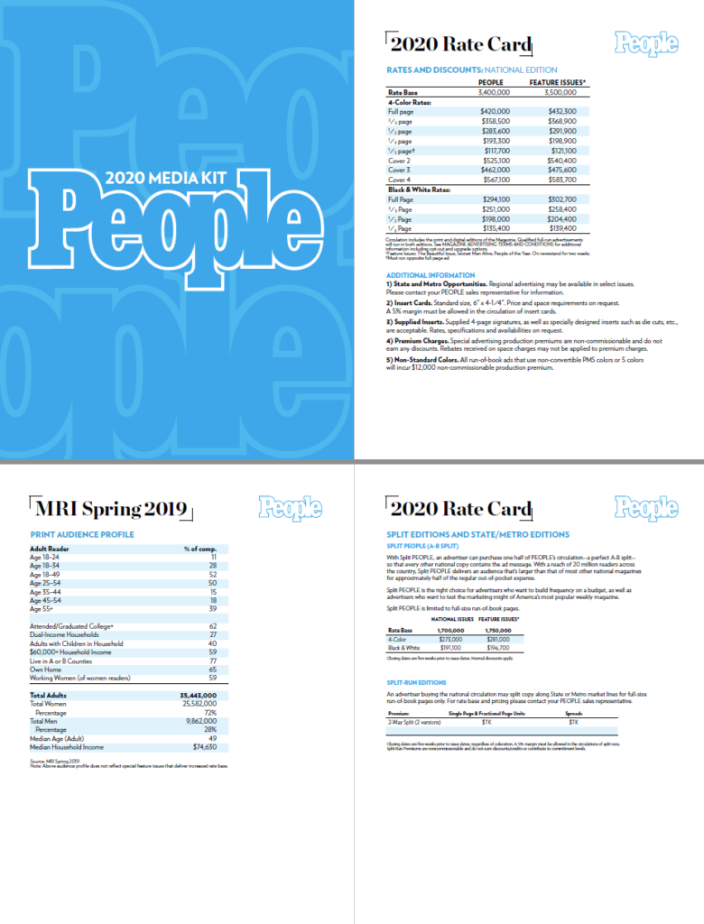 People Magazine's media kit and rate card