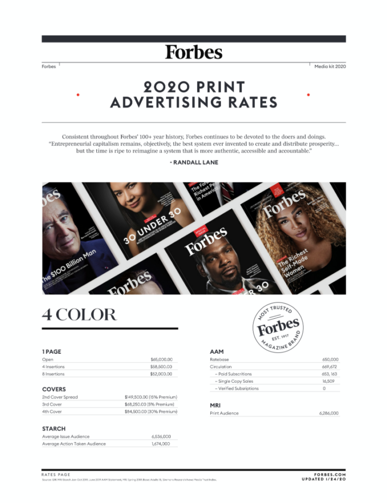 Forbes media kit rate card