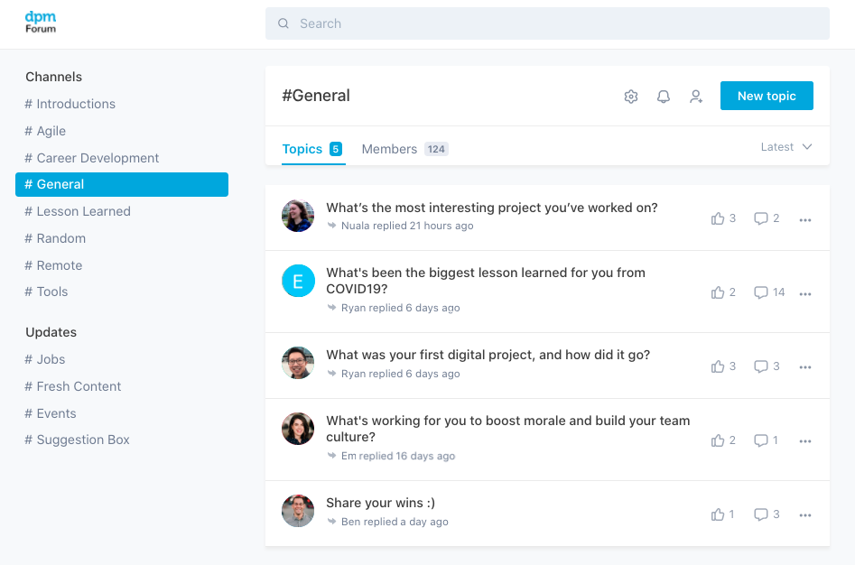 screenshot of community engagement in the forum in the early days